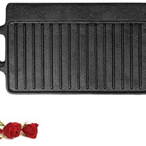 1-Piece 15.67 inch Cast Iron Griddle Plate | Reversible Cast Iron Grill Pan | Double Sided Used On Single Burner | Non -Coating Pre-Seasoned | KUTIME Versatile Baking Cast Iron Grill