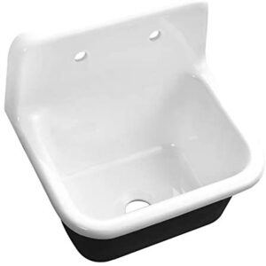 22'' Streamline Cast Iron R-5720-26CISWH-1 Wall-Mount Kitchen Sink