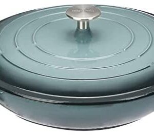 "Amazon Basics Enameled Cast Iron Covered Casserole-3.3-Quart, Grey, Dia12.4 length 15.03"" Height5 Capacity:3.3QT"