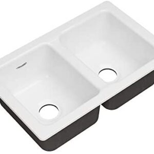 American Standard 77DB30190.308 Delancey 30x19 Double Bowl Cast Iron Kitchen Sink, Brilliant White