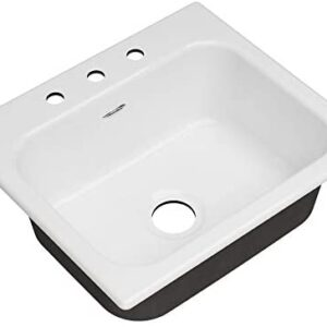 American Standard 77SB25223.308 Quince 25 x 22 Single Bowl Cast Iron Kitchen Sink - 3 Hole Brilliant White
