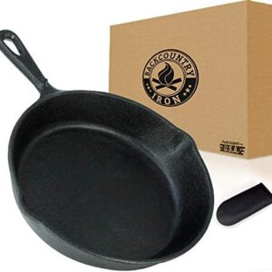 Backcountry Cast Iron Skillet(8 Inch Small Frying Pan + Cloth Handle Mitt, Pre-Seasoned for Non-Stick Like Surface, Cookware Oven / Broiler / Grill Safe, Kitchen Deep Fryer, Restaurant Chef Quality)