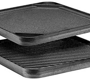 "Bruntmor Pre-Seasoned Cast Iron Reversible Grill/Griddle Pan, 10 x 10"" Skillet with Dual Handles Durable Frying Pan/Camping Skillet - Grill Or Smooth Sides."