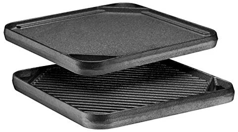 """Bruntmor Pre-Seasoned Cast Iron Reversible Grill/Griddle Pan, 10 x 10"""" Skillet with Dual Handles Durable Frying Pan/Camping Skillet - Grill Or Smooth Sides."""