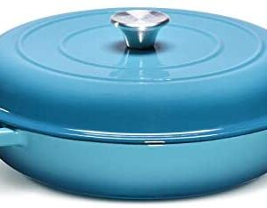 CSK 4 Quart Cast-Iron Round Casserole Cookware with Lid-Heavy Duty Braiser Pan with Porcelain-Enameled Non-Stick Surface, Stainless Steel Knob, PFOA&APEO Free, Cast Iron Casserole Dish, Card Blue.
