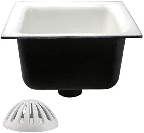 """GSW Floor Sink with Dome Strainer, Cast Iron Body & Ceramic Surface 12""""W x 12""""L x 6""""H - Perfect for Restaurant, Bar, Buffet (2"""" Drain)"""
