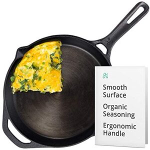 GreaterGoods Cast Iron Skillet 10 Inch, Smooth Non-Stick Nine Inch Cooking Surface, Pre-Seasoned handmade cast iron with USDA Certified Organic Flax Seed, Heirloom Quality