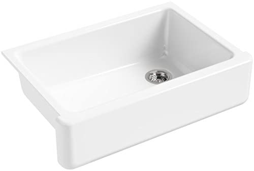KOHLER K-5827-0 Whitehaven Farmhouse Self-Trimming Undermount Single-Bowl Sink with Tall Apron, White