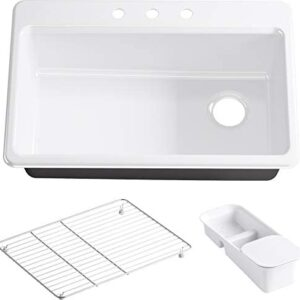 KOHLER K-5871-3A2-0 Riverby Single Bowl Top-Mount Kitchen Sink with Three-Holes, White