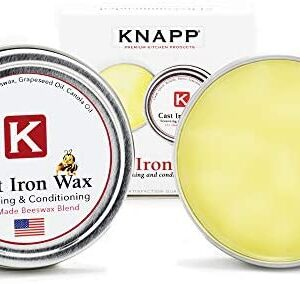 Knapp Made Cast Iron Seasoning and Conditioner - Made in USA - Unique Blend of Natural Oils and Beeswax - Perfect Seasoning Every Time - Restore Cast Iron, Steel, Grill Tops - Cast Iron Cleaner