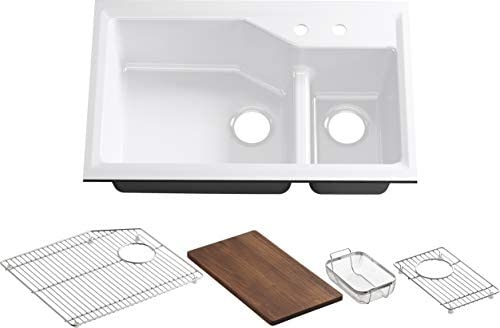 Kohler K-6411-2-0 Indio Undercounter Double Offset Basin Kitchen Sink with Two-Hole Faucet Drilling, White