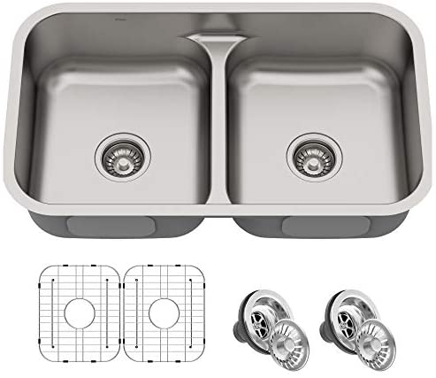 Kraus KBU32 Premier Kitchen Sink Double Bowl, Stainless Steel