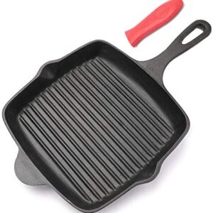 Lawei Cast Iron Square Grill Pan - 10 Inch Pre-Seasoned Skillet Pan with Handle Cover Stove Top Griddle Pan for for Grilling, Frying, Sauteing