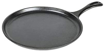 Lodge Pre-Seasoned Cast Iron Griddle With Easy-Grip Handle, 10.5 Inch (Pack of 1), Black