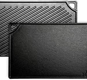 Lodge Pre-Seasoned Cast Iron Reversible Grill/Griddle, 16.75 Inch x 9.5 Inch, Black
