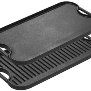 Lodge Pre-Seasoned Cast Iron Reversible Grill/Griddle With Handles, 20 Inch x 10.5 Inch - One tray