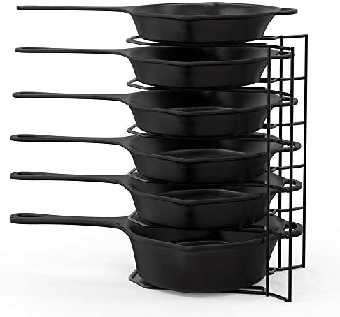 MUDEELA 6 Tier Heavy Duty Pan Organizer, Pan Rack Holds Cast Iron Skillets, Griddles and Shallow Pots, Pan Organizer Rack for Cabinet Kitchen, Durable Steel Construction, No Assembly Required
