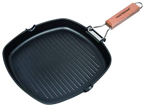 "MasterPan Non-Stick Grill Pan Wooden, 11"", Folding Handles"