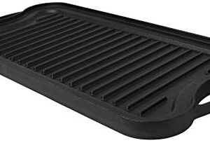 "Mirro Pre-Seasoned Cast Iron Reversible Grill/Griddle, 20"" x 10.5"", Black"