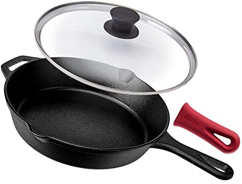 Pre-Seasoned Cast Iron Skillet (10-Inch) with Glass Lid and Handle Cover Oven Safe Cookware - Heat-Resistant Holder - Indoor and Outdoor Use - Grill, Stovetop, Induction Safe