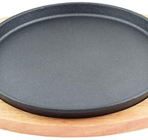 "Round Cast Iron Set W/Rubber Wood Underliner For Making Pizza, Sizzling meat (11.80"")"
