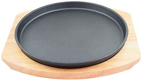 """Round Cast Iron Set W/Rubber Wood Underliner For Making Pizza, Sizzling meat (11.80"""")"""