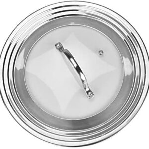 Stainless Steel Universal Lid for Pots, Pans and Skillets - Fits 7 In to 12 In Pots and Pans - Replacement Frying Pan Cover and Cast Iron Skillet Lid