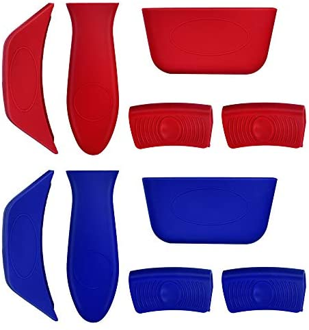 TORASO 10 PCS Silicone Hot Handle Holder Set, Assist Handle Kit, Cast Iron Skillet Handle Cover, Pot Sleeve Grip Handle for Woks, Frying Pans, Griddles, Skillets, Oven, BBQ and Home Use, (Red, Blue)