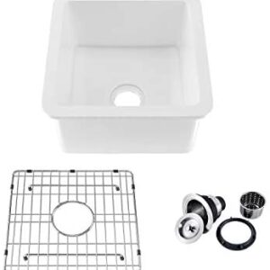 """18"""" White Fireclay Farmhouse Undermount Kitchen Sink with Bottom Grid and Strainer"""