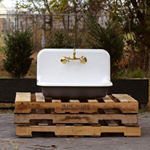 "30"" Antique Inspired High Back Farm Sink Cast Iron Original Porcelain Wall Mount Kitchen Sink Package Tricorn Black"