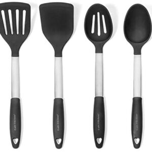 Daily Kitchen Utensil Set Silicone and Stainless Steel - Heat Resistant Cooking Utensils for Non Stick Cookware - Silicone Spatulas and Spoons for Cooking - Kitchen Tools and Gadgets - 4-Piece Set