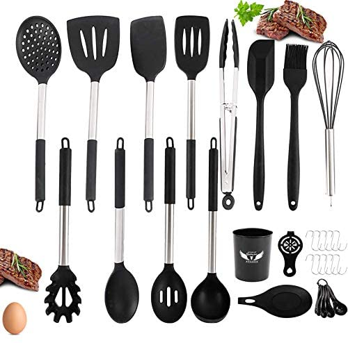 HOMOKUS[30 PCS] Silicone Cooking Utensil Set with Holder - 608°F Silicone Heat Resistant Utensils