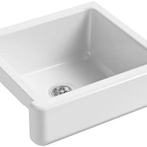 KOHLER K-5664-0 Whitehaven Farmhouse Self-Trimming Farmhouse Undermount Single-Bowl Kitchen Sink with Short Apron, 23-1/2 x 21-9/16 x 9-5/8-Inch, White