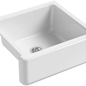 KOHLER K-5665-0 Whitehaven Farmhouse Self-Trimming Undermount Single-Bowl Kitchen Sink with Tall Apron, 23-11/16 x 21-9/16 x 9-5/8-Inch, White