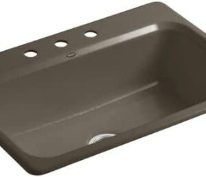 KOHLER K-5832-3-20 Bakersfield 31-Inch x 22-Inch Top-Mount Single-Bowl Kitchen Sink with 3 Faucet Holes, Suede