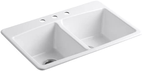 KOHLER K-5846-3-0 Brookfield Top-Mount Double-Equal Bowl Kitchen Sink with 3 Faucet Holes, White,Black 'n Tan