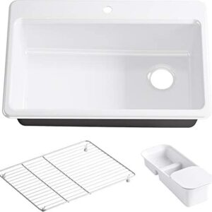 KOHLER K-5871-1A2-0 Riverby Single Bowl Top-Mount Kitchen Sink, White