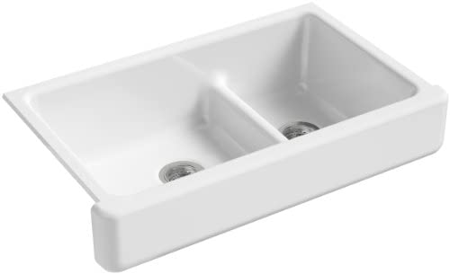 KOHLER K-6426-0 Whitehaven Farmhouse Smart Divide Self-Trimming Undermount Apron Front Double-Bowl Kitchen Sink with Short Apron, 35-1/2-Inch X 21-9/16-Inch X 9-5/8-Inch, White
