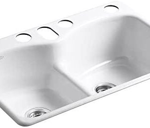 KOHLER K-6626-6U-0 Langlade Smart Divide Undercounter Kitchen Sink, White