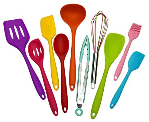 Kitchen Silicone Utensil Set, Cooking Tools10Pcs,Food Grade Safety Mini Cookware,480℉Heat Resistant,Seamless Easy to Clean, Used with Non-Stick Utensils (multicolor)