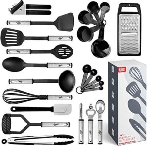 Kitchen Utensil Set 24 Nylon and Stainless Steel Utensil Set, Non-Stick and Heat Resistant Cooking Utensils Set, Kitchen Tools, Useful Pots and Pans Accessories and Kitchen Gadgets (Black)