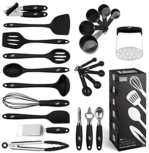 Kitchen Utensil Set, 24 Silicone Cooking Utensils, Non-Stick and Heat Resistant Kitchen Tools, Useful Cooking Gadgets (Black)