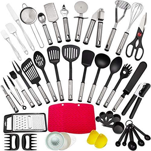 Kitchen Utensil Set,44 Pcs Cooking Utensils,Made of Stainless Steel and Nylon,Kitchen Tools with Tongs,Spatulas,Turners,Spoons,Sieves, Kitchen Cookware BBQ Tools.