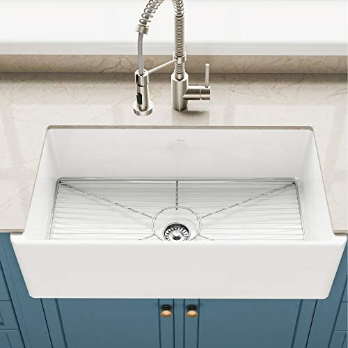Kraus KFR1-33GWH Turino 33-inch Fireclay Farmhouse Apron Reversible Single Bowl Kitchen Sink with Bottom Grid in, White Color