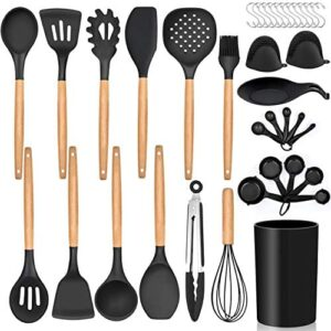 LIANYU 38 Pcs Kitchen Cooking Utensils Set with Holder, Heat Resistant Silicone Kitchen Utensil Spatula Set, Kitchen Gadgets Tools Set for nonstick Cookware Set, Wooden Handle, Black
