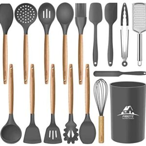 Mibote 17 Pcs Silicone Cooking Kitchen Utensils Set with Holder, Wooden Handles BPA Free Non Toxic Silicone Turner Tongs Spatula Spoon Kitchen Gadgets Utensil Set for Nonstick Cookware (Grey)