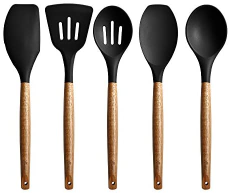 Miusco Non-Stick Silicone Kitchen Utensils Set with Natural Acacia Hard Wood Handle, 5 Piece, Black, BPA Free, Baking & Serving Silicone Cooking Utensils