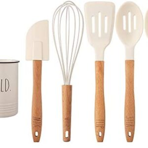 Rae Dunn Everyday Collection 5 Piece Silicone Kitchen Utensil Set with Canister Holder, Kitchen Tools with Beechwood Handles- by Cook with Color (White)