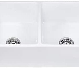 Ruvati 33-inch Fireclay Farmhouse Apron-Front Kitchen Sink Double Bowl - White - RVL2311WH