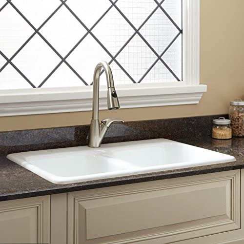 "Signature Hardware 926367-33-1 Blyth 33"" Drop In Double Basin Cast Iron Kitchen Sink with 1 Faucet Hole"